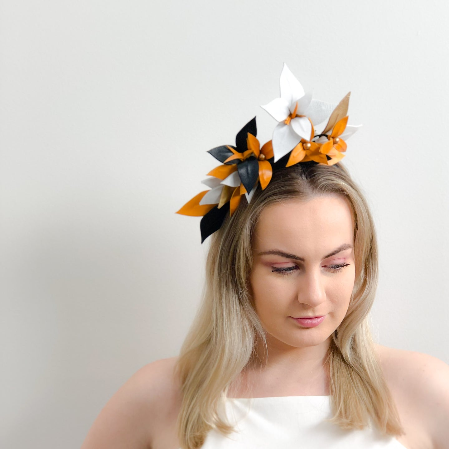 STELLA Leather floral  headpiece -colours by request