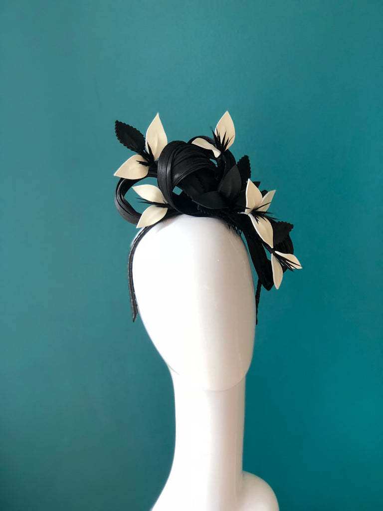 MERLE Leather floral headpiece- black and pearl