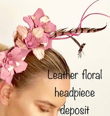 Custom Leather floral  headpiece deposit