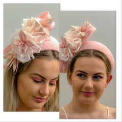 pink Bandeau style headpiece with delicate floral and leather feature