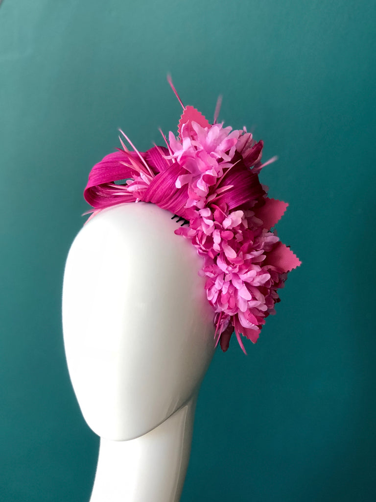 floral headpiece -multi pink tones SOLD