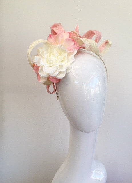 floral  headpiece- ivory and pink