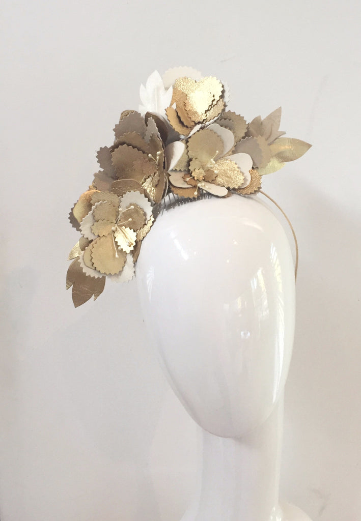 Leather floral race headpiece -gold cream and beige