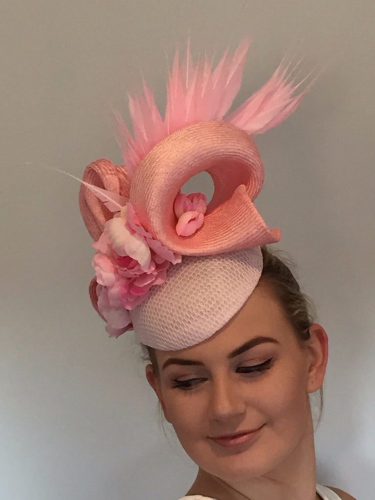 Gigi - floral and feather race hat in sorbet pink tones