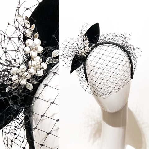 AUDREY - veiled Leather headband