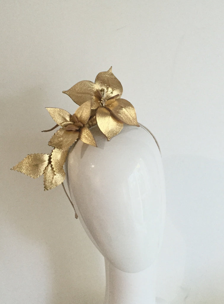 Gold leather floral headpiece