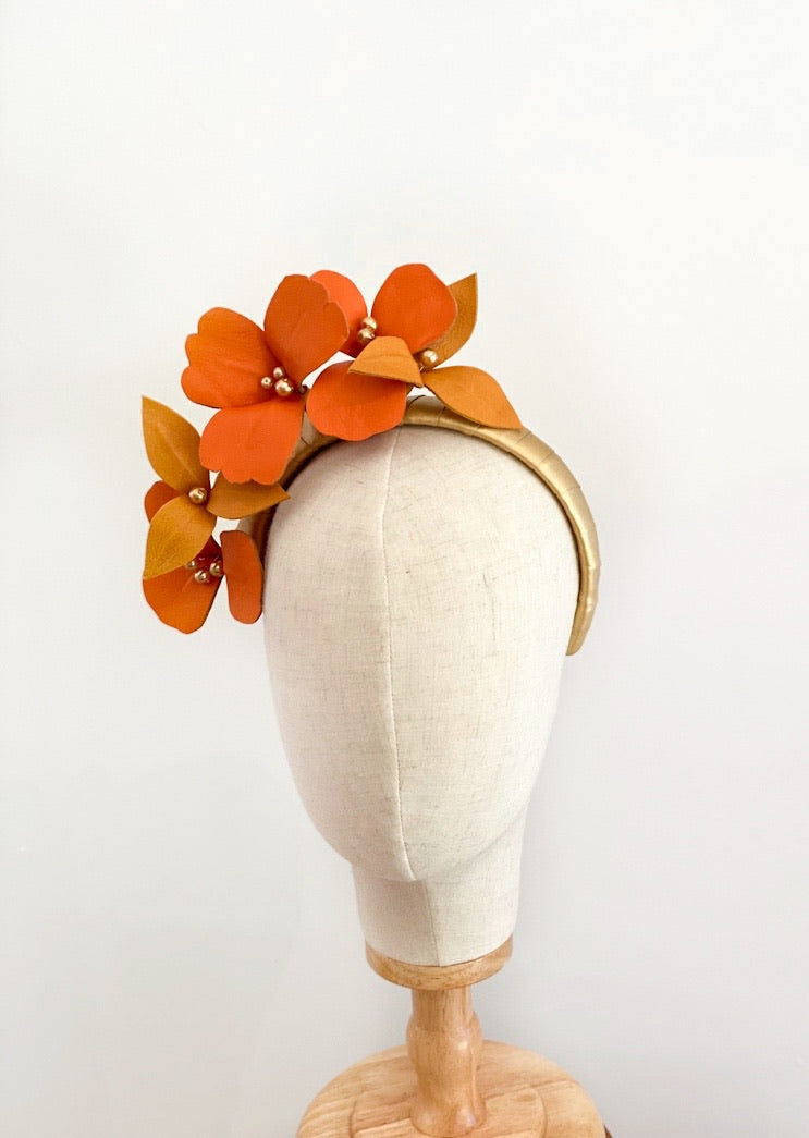 leather floral headpiece