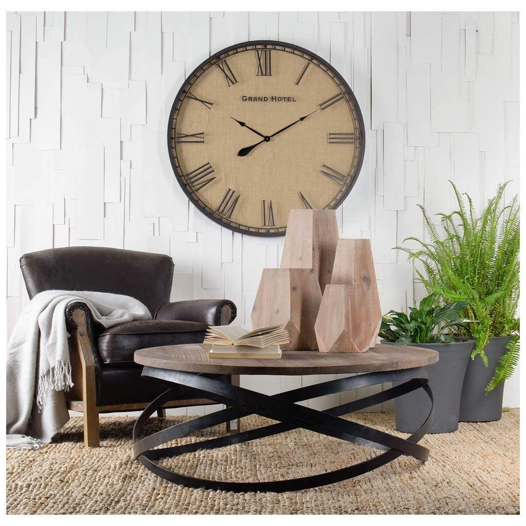 Picture of: Triumph 40 5 Round Brown Solid Wood Top Black Metal Base Coffee Table Decor Redefined