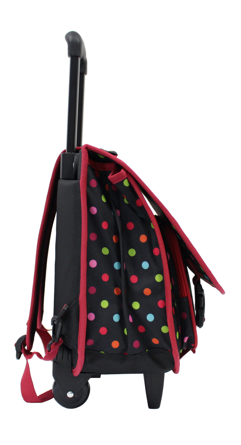 Little Marcel Cartable Trolley Scolaire - 40cm - Petits pois - Bordeaux
