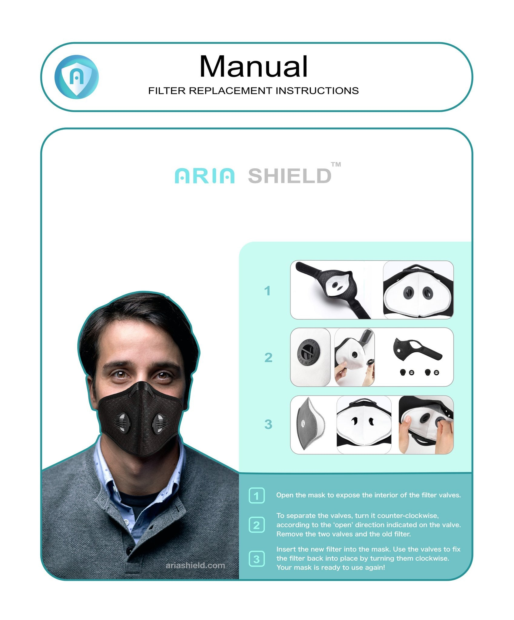 face masks with filter replacement manual