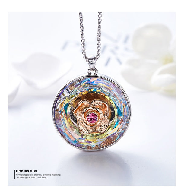 Swarovski ®18K Rose Gold Dancing Rose Flower Pendant
