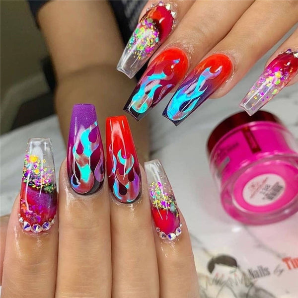 16pcs Holographic Fire Flame Nail Stickers