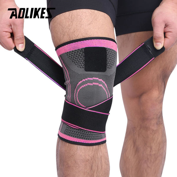 AOLIKES 1PCS 2019 Knee Support Professional Protective Sports Knee Pad Breathable Bandage Knee Brace Basketball Tennis Cycling