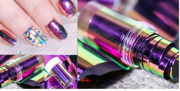 4*100cm/ Holographic Fire Flame Nail Stickers