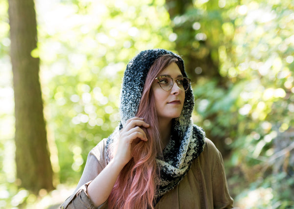 Crochet Pattern: The Magpie Hooded Scarf