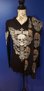 Black Knit Hoodie with Skull
