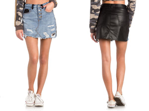 Jean and Leather Like Mini Skirt