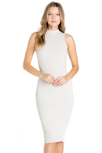 Ribbed Knit Dress with Back Slit