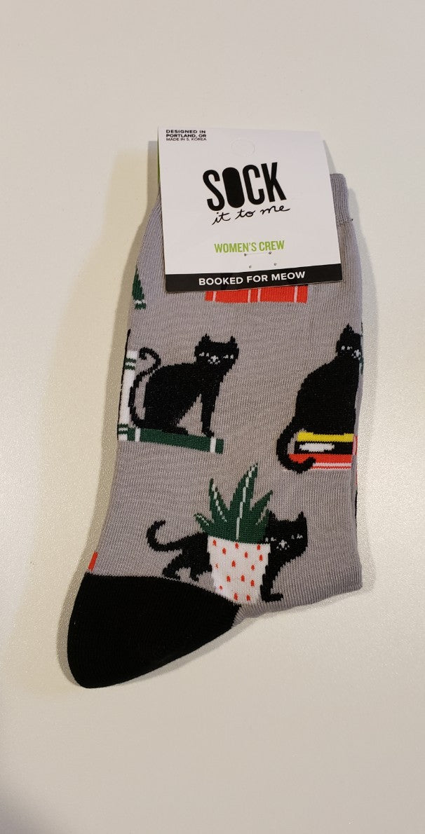 Booked for Meow Women's Crew Socks