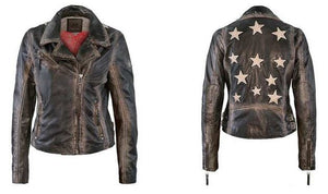 Christy Leather Jacket with Stars