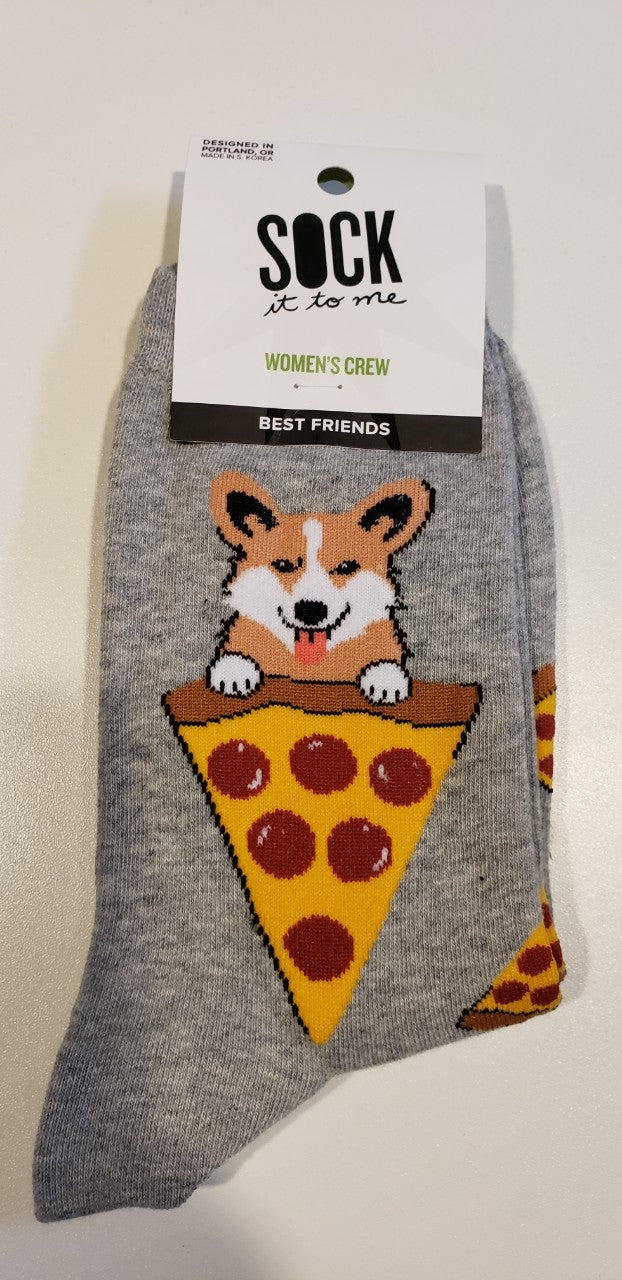 Best Friends Puppy and Pizza Ladies Crew Socks