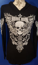 Load image into Gallery viewer, Black Knit Hoodie with Skull