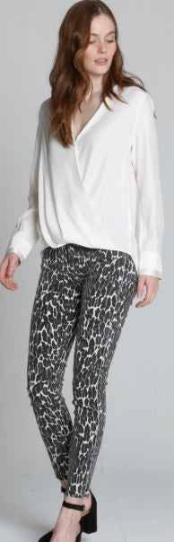 Jackie X Cougar Print Frayed Bottom Jeans