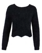 Lola Glitter Sweater with Scalloped Bottom