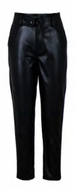 London Belted Black Leather Like Trouser