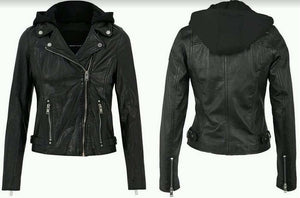 Raja Hooded Black Leather Jacket