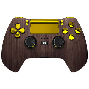 HexGaming eSports HYPER Controller for PS4 customized controller PC Wireless FPS eSport Gamepad - Wood Grain Gold