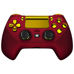 HexGaming HYPER Controller Back Buttons & Thumbsticks & Triggers Stop for PS4 Pro custom controller FPS - Scarlet Red Gold