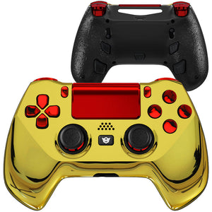 HexGaming eSports HYPER customized Controller for PS4 Elite controller 4 paddles &  & Triggers Stop - Chrome Gold Red
