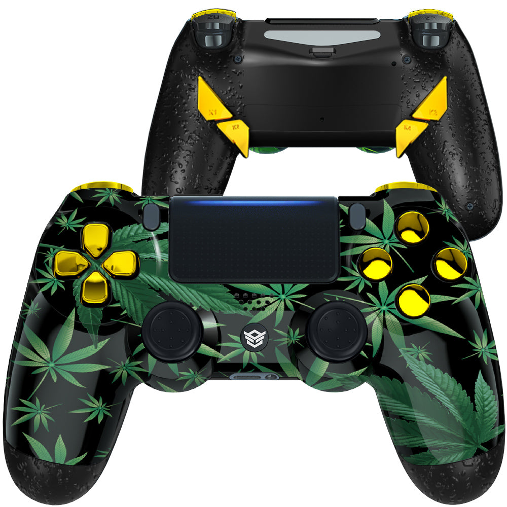 HexGaming eSports EDGE Customized Controller for PS4 Elite controller  paddles & Thumbsticks & Hair Trigger - Weeds