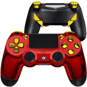 HexGaming EDGE elite controller 4 paddles & Interchangeable Thumbsticks & Hair Trigger for PS4 - Chrome Red