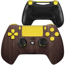 Load image into Gallery viewer, HexGaming eSports HYPER Controller 4 Remap Buttons & Interchangeable Thumbsticks & Triggers Stop for PS4 - Wood Grain Gold