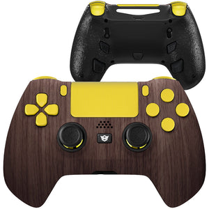 HexGaming eSports HYPER Controller 4 Remap Buttons & Interchangeable Thumbsticks & Triggers Stop for PS4 - Wood Grain Gold