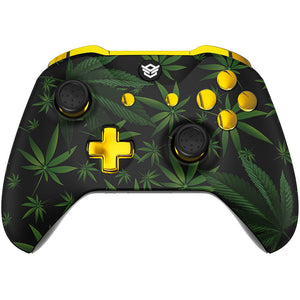 HexGaming BLADE Mappable Paddles & Interchangeable Thumbsticks & Triggers Stop for XBOX, Xbox Series X/S - Green Weeds Gold