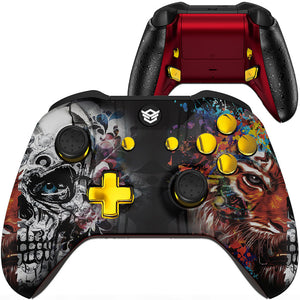 HexGaming eSports BLADE customized Controller for Xbox Series X/S , XBOX Elite paddles & Interchangeable Thumbsticks & Triggers Stop - Tiger Skull