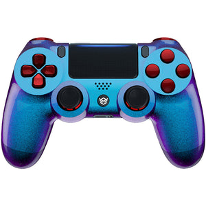 HexGaming Customizable SPIKE Controller for PS4 eSports FPS Game controller - Chameleon Purple Blue Scarlet Red
