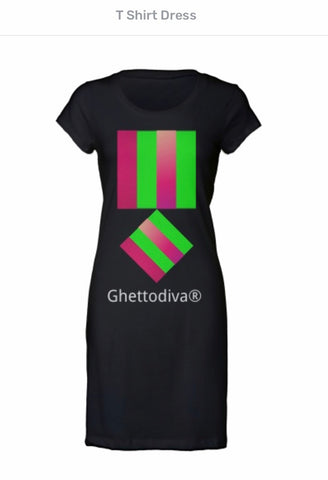Green Pink Box Design T Shirt Dress