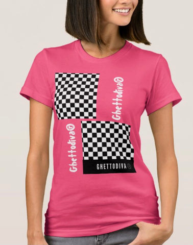 Black and White Check  T Shirt