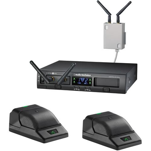 Audio-Technica ATW-1366 System 10 Wireless Boundary Mic System with Receiver Chasis/2 Receiver Units/2 Desk Mics