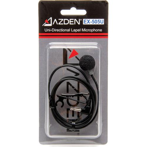 "Azden EX505U Unidirectional Lavalier Microphone with 1/8"" (3.5mm) Mini-Jack for Use with Azden Pro Series Bodypack Transmitters"