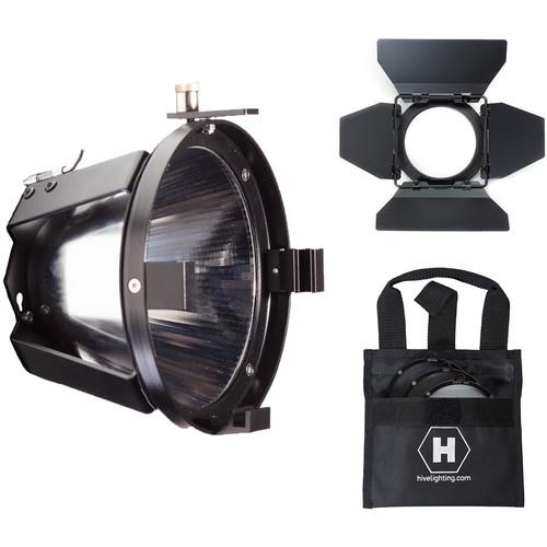 Hive Lighting Flood Reflector Attachment, Barndoors and 3 Lens Set (Medium, Wide, Super Wide) w/ Bag for HORNET 200-C