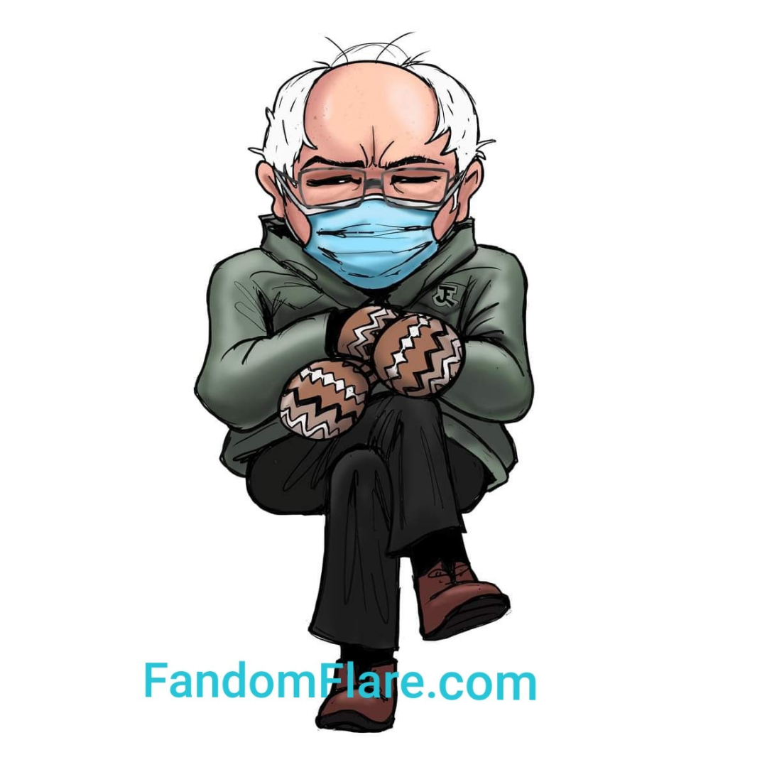 Bernie in Mittens STICKER waterproof fade resistant vinyl