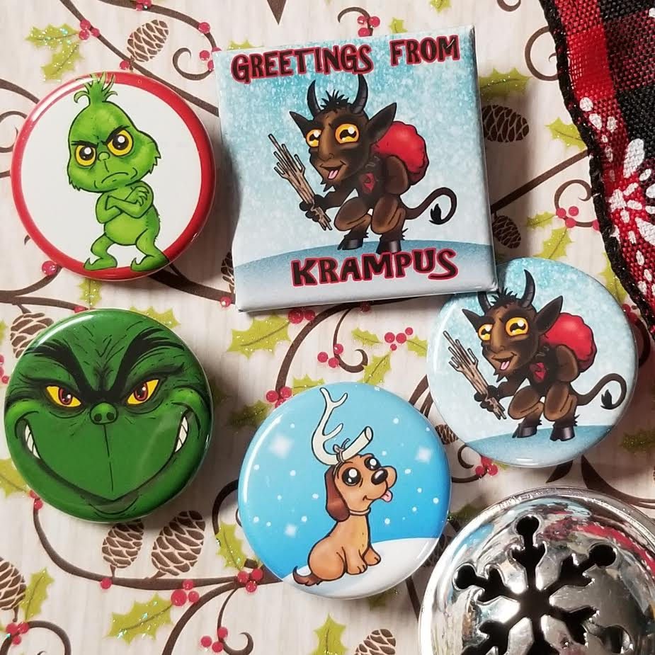 Holiday buttons!  Krampus and the green guy!