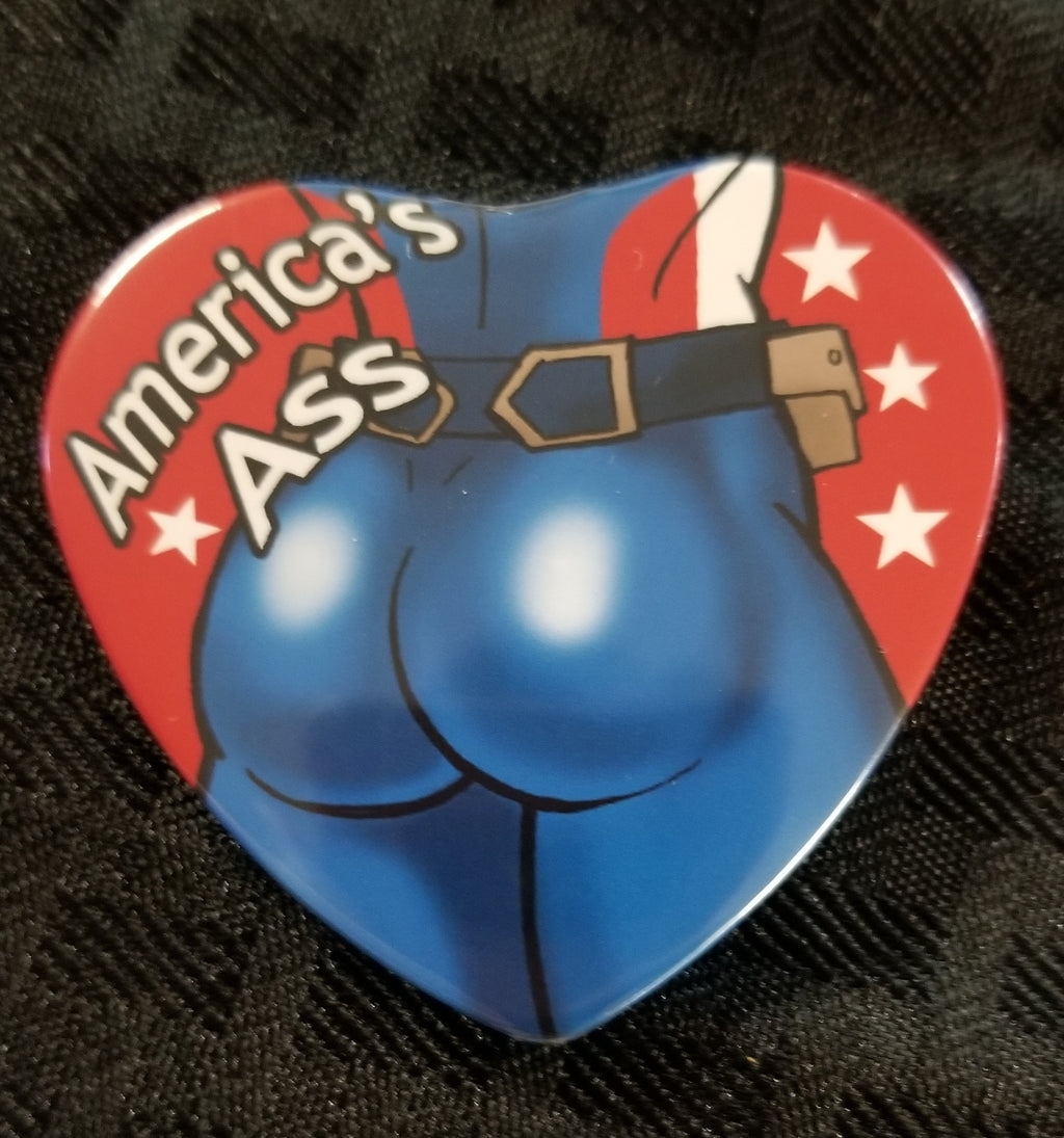 America's Ass heart button