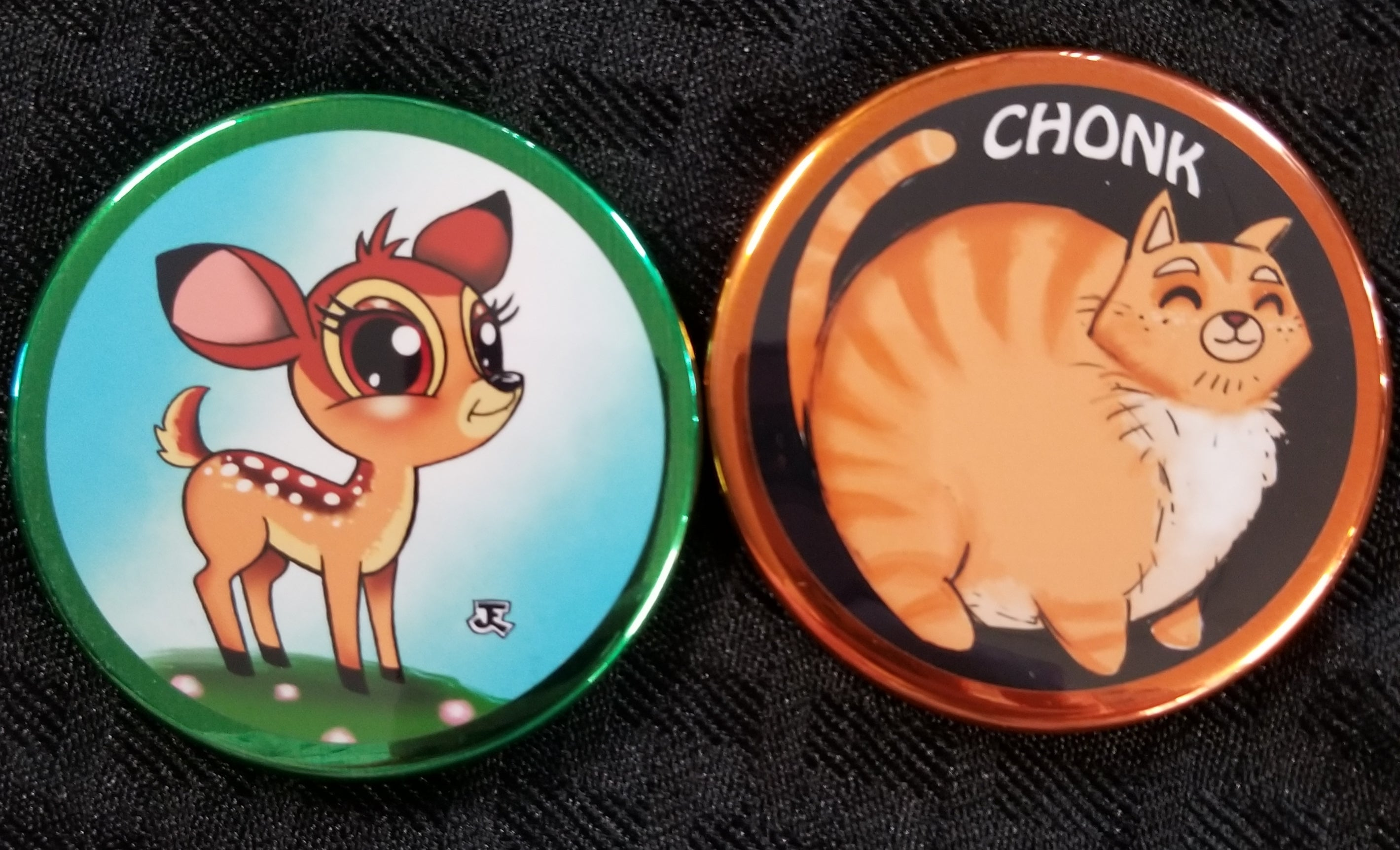 Chonk cat and cute deer magnet set