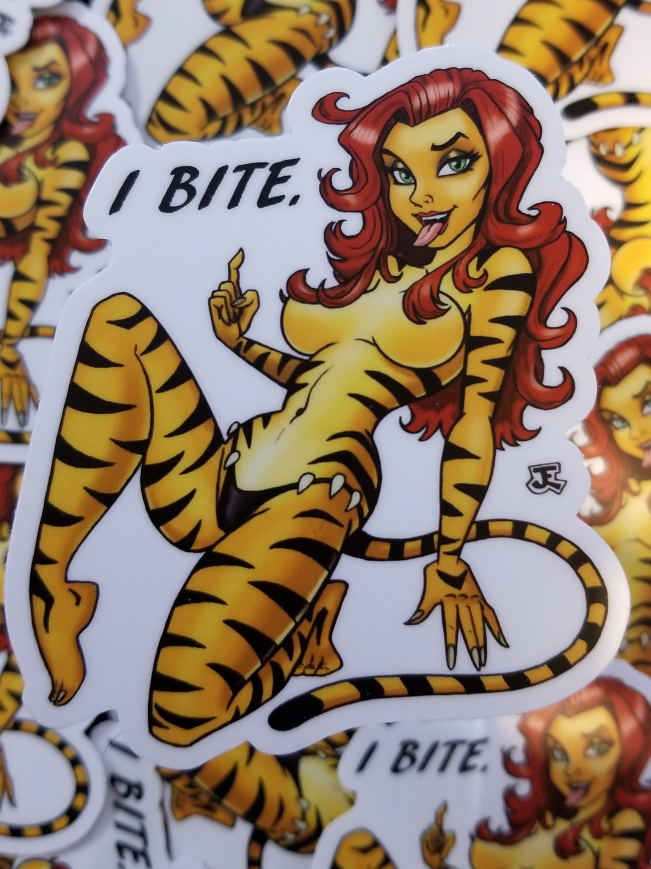 Tiger woman pin-up vinyl sticker